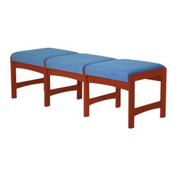 Wooden Mallet - Upholstered Solid Wood Triple Bench w Dark Re - Fabric: Powder BluePictured in Dark Red Mahogany with Powder Blue fabric finish. 1 In. thick solid oak frame. Coated with durable state-of-the-art finish to stand up to heavy use. Tasteful contemporary styling coordinates with any décor. Minimal assembly required. Made in the USA. Complies with California TB 117 fire code. 1-Year limited warranty. Weight capacity: 400 lbs. per seat. 20 in. D x 62.5 in. W x 19 in. H (58 lbs.)Wooden Mallet's Dakota Wave bench offers your clients irresistible style and comfort. It's the kind of versatile design that works in any space. Stylish, economical, and durable, this bench is built to stand up to the heavy use of a busy office environment. Choose from dozens of stain and fabric combinations to customize this bench for any décor or contact us to learn about supplying your own fabric for a personalized look. Use it as part of our suite of Dakota Wave furniture, and completely furnish your waiting room.