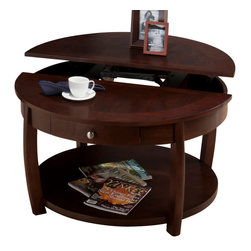 Jofran - Jofran 436-2 Riverside Round Lift-Top Cocktail Table with Drawer and Casters - Add character to your living room with this charming cocktail table. The round surface features a lift-top, handy for holding drinks or your laptop while you are lounging on the sofa. One drawer and one round bottom shelf provide storage space for books, magazines, and living room accessories.