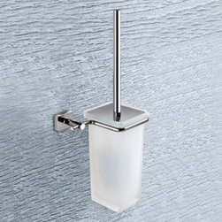 Gedy - Wall Mounted Glass Toilet Brush With Chrome Mounting - Wall toilet brush holder with bristle brush. Wall mounted toilet brush holder. Made of Cromall, stainless steel, and satinized glass. From Gedy Minnesota Collection.