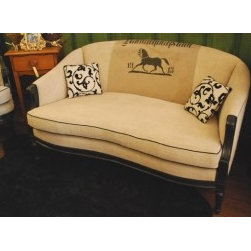 EcofirstArt II - We have combined a vintage American settee or loveseat frame with an antique German artisan created textile, embossed with a horse. The antique homespun linen textile also includes the name of a German village, and the year the textile was created, 1913. The entire piece has been covered in more antique German homespun linen of a heavy weight and durability, and wonderful softness, We have welted this loveseat with black fabric and painted the frame in a black paint finish. A true delight for equestrian horse lovers and antique lovers. There is a large watermark on the antique textile, giving it a truely beautiful patina. We have accented our loveseat with two small square contemporary pillows with linen and black velvet.