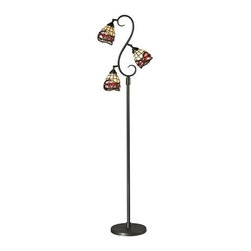 Dale Tiffany - Dale Tiffany TF12408 Fall River 3 Light Torchiere Lamp - Features: