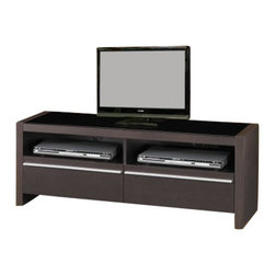 "Coaster - TV Console (Cappuccino) By Coaster - Two spacious lower drawers. Two open compartments. Bold silver tone metal handles. Rich dark cappuccino finish. 48 "" W x 15.75 "" D x 19 "" H.  This sleek contemporary media console will a sophisticated addition to your living room. Create a chic look in your living room with this stylish contemporary TV stand."