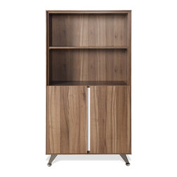 """Jesper Office Furniture - 300 Series Walnut Bookcase with White Accents - Equipped with adjustable shelves, this bookcase with doors has scratch-resistant surface and chrome base. Customize or integrate rooms in your home/office with this modern 300 Series Walnut Bookcase with White Accents. The intelligent 300 Collection features three various sized desks, a 32"""" optional return with a built-in two-drawer pedestal and an assortment of filing and storage cabinets. Available in Espresso or Walnut with silver or white accents, the sleek profile and reflective materials will spaciously open up any modern working space."""