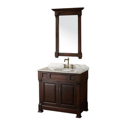 Wyndham Collection - 36 in. Single Bathroom Vanity - Includes matching mirror, natural stone counter and backsplash with porcelain sinks. Faucet not included. Beautiful transitional styling. White under mount sink. White Carrera marble top. Floor-standing linen tower. Hand carved and stained cabinet. Mirror glass thickness: 1 in.. 8 in. widespread three hole faucet mount. Plenty of storage space. Engineered to prevent warping and last a lifetime. Highly water-resistant low V.O.C. finish. Twelve stage wood preparation, sanding, painting and hand-finishing process. Fully extending side-mount drawer slides. Concealed door hinges. Two doors. Metal hardware with antique bronze finish. Warranty: Two years. Made from environmentally friendly, zero emissions solid oak hardwood. Dark cherry finish. Vanity: 36 in. W x 23 in. D x 35 in. H. Mirror: 28 in. L x 41 in. H (31 lbs.). Cabinet weight: 107 lbs.. Counter weight: 63 lbs.. Sink weight: 13 lbs.. Care InstructionsA new edition to the Wyndham Collection, the beautiful Andover bathroom series represents an updated take on traditional styling. The Andover is a keystone piece, with strong, classic lines and an attention to detail.