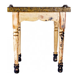 """Art Side Table - This is a very old piece and simply one of the most beautiful examples of the craftsmanship from the Arts & Crafts era. This is a one-of-a-kind original that shows up, if at all, only once in a lifetime. It is 16"""" across the largest area, 18"""" tall and 11"""" wide."""