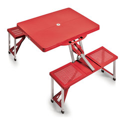 "Picnic Time - SPORT Picnic Table, Red - Picnic Time's portable Picnic Table is a compact fold-out table with bench seats for four that you can take anywhere. The legs and seats fold into the table when collapsed so the item is easy to store and transport. It has a maximum weight capacity of 250 lbs. per seat and 20 lbs. for the table. The seats are molded polypropylene with a basket weave pattern in the same color as the ABS plastic table top. The frame is aluminum alloy for durability. The Picnic Table is ideal for outdoor or indoor use, whenever you need an extra table and seats. It includes a hole in the center of the table to accommodate a standard sized beach umbrella (having a pole that is 1.25"" diameter or less)."