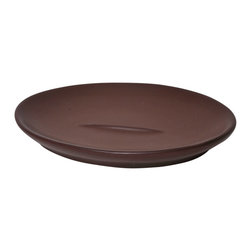 Stoneware Soap Dish Brown - This elegant soap dish for bathrooms is in stoneware with a circular shape that adds a modern look and feel to your decor. This soap dish adds a decorative touch in any bathroom and features a length of 5.32-Inch, a width of 3.93-Inch and a height of 0.71-Inch. Wipe clean with soapy water. Color brown. Accessorize your bathroom countertop in a trendy style with this charming soap dish! Complete your decoration with other products of the same collection. Imported.