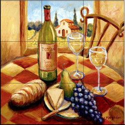 The Tile Mural Store (USA) - Tile Mural - Tuscan Luncheon I  - Kitchen Backsplash Ideas - This beautiful artwork by Joanne Margosian has been digitally reproduced for tiles and depicts a kitchen scene with wine, bread and fruit.    Our kitchen tile murals are perfect to use as part of your kitchen backsplash tile project. Add interest to your kitchen backsplash wall with a decorative tile mural. If you are remodeling your kitchen or building a new home, install a tile mural above your stove top or install a tile mural above your sink. Adding a decorative tile mural to your backsplash is a wonderful idea and will liven up the space behind your cooktop or sink.