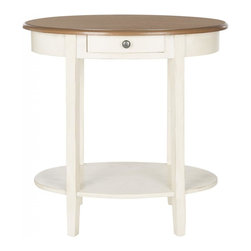Safavieh - Asianne End Table - Choose the Monica end table for a shabby-chic style accent in living room, bedroom or family room. Featuring a base with distressed pale blue finish Monica has an oak-toned oval birch wood top ready for your favorite lamp, and a bottom shelf for books or magazines. This hardworking table also offers a drawer for extra storage.