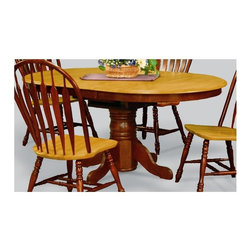 Sunset Trading - 66 in. Eco-friendly Oval Dining Table - Chair not included. Self storing 18 in. butterfly leaf. Solid handcrafted hardwood. Adjustable feet levelers. Sturdy quality craftsmanship. Warranty: One year. Made from Malaysian oak. Nutmeg and light oak finish. Made in Malaysia. Assembly required. Minimum: 54 in. L x 42 in. W x 30 in. H. Maximum: 66 in. L x 42 in. W x 30 in. H (106.22 lbs.)Welcome  guests into your home with a touch of country comfort with this classic American piece from the Sunset Trading - Sunset Selections Collection. Whether it's casual coffee and conversation, everyday dining, holidays or special occasions, memories are guaranteed to be made when family and friends gather around this versatile dining table. Warm and inviting, the classic beauty and craftsmanship of this dining tables makes it equally appropriate for your kitchen or dining room fulfilling all your formal and informal dining needs. Classic and timeless, and with the memories made, this relaxed dining piece will bring warmth and comfort to your home for years to come.