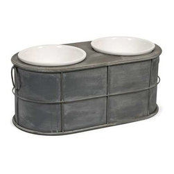 Casoria Pet Feeder with Ceramic Bowls - Even Rover deserves a modern treat! Featuring an industrial metal style, the Casoria raised ceramic dog food bowls add a stylish look to any area.