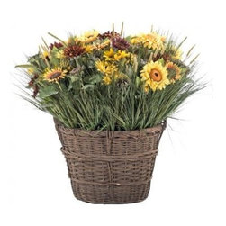 "Silver Nest - Large French Sunflower Basket- 57""h - Gorgeously Oversized Gold and Brown Sunflowers in a French Market Style Basket. Size is 48 x 57""h (rather enormous!). Perfect for that large empty space that needs some brightening up!"