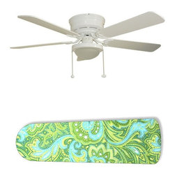 "Seaside Green and Blue Paisley 52"" Ceiling Fan with Lamp - This is a brand new 52-inch 5-blade ceiling fan with a dome light kit and designer blades and will be shipped in original box. It is white with a flushmount design and is adjustable for downrods if needed. This fan features 3-speed reversible airflow for energy efficiency all year long. Comes with Light kit and complete installation/assembly instructions. The blades are easy to clean using a damp-not wet cloth. The design is on one side only/opposite side is bleached oak. Made using environmentally friendly, non-toxic products. This is not a licensed product, but is made with fully licensed products. Note: Fan comes with custom blades only."