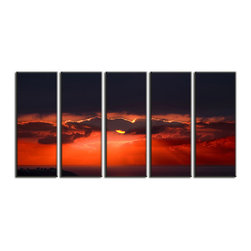 Vibrant Canvas Prints - Photo Canvas Prints, Framed 3 Panel Mountain Sky and Forest Tree Nature - This is a beautiful, 100% quality cotton canvas print. This print is perfect for any home or office, and will make any room shine with its addition of color and beauty.  - Free Shipping - Modern Home and Office Interior Decor   Sunset Beach Canvas Designs - 5 Panel Print   Sea Beach Print on Canvas - Wall Art - 30 Day Money Back Guarantee.