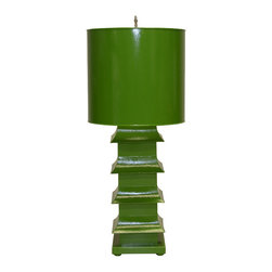 "Worlds Away - Worlds Away Green Painted Large Tole Pagoda Lamp LMPHL-G - Green painted large tole pagoda lamp with 13"" dia painted tole shade. Ul approved for one 60 watt bulb."