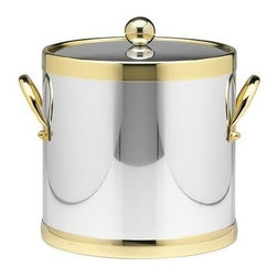Kraftware - Americano 3-qt. Ice Bucket in Shiny Chrome and Brass w Handle - Side handle. Metal cover. Made in USA. 9 in. Dia. x 9 in. H (3 lbs.)The Grant Signature Home Collection's Americano Collection is the only Real Metal Collection in the U.S.A. This is real home entertaining quality at affordable prices.