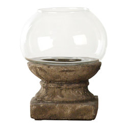 Zentique - Candle Holder - Small - Bring the warm glow of candlelight into your favorite setting with this original, rough-hewn piece. The chunky base, sculpted of granular clay, stands in attractive contrast to the domed glass bowl that surrounds the flame.