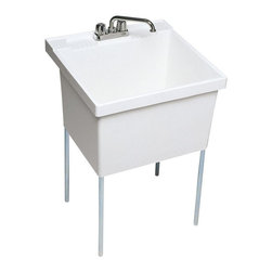 Swan - Swan Utility Sinks 22 1/2 in. x 23 in. Veritek Single Basin Laundry Tub in - This floor standing laundry tub is made of Veritek with no surface coating to chip or crack. It has a 22-gallon capacity with a molded-in washboard. Includes a factory installed drain one set of chrome plated tubular steel legs and complete installation instructions. Color: White.