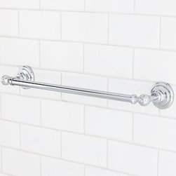 "Ashland Towel Bar, 18"", Chrome finish - The handsome industrial character of vintage plumbing hardware is reflected in our Ashland bath collection. Known for its superb quality and craftsmanship, each piece is cast of brass with a thickly plated finish for exceptional durability. Small Overall: 20"" wide x 2.5"" deep x 3.25"" high. Large Overall: 26"" wide x 2.5"" deep x 3.25"" high. Expertly crafted of cast brass. Mounting hardware included. View our {{link path='pages/popups/fb-bath.html' class='popup' width='480' height='300'}}Furniture Brochure{{/link}}."