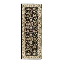 Safavieh - Hand-hooked Chelsea Tabriz Black/ Ivory Wool Runner (3' x 12') - This extra-wide hand-hooked runner by Chelsea Tabriz features a stunning floral pattern in red, ivory, and green over a rich black background. The 100 percent cotton canvas backing adds durability and strength to this soft, stylish rug.