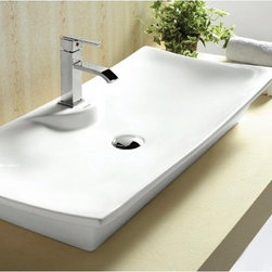Caracalla - Rectangular White Ceramic Vessel Bathroom Sink - Modern design, rectangular white ceramic vessel bathroom sink with one hole. Beautiful above counter washbasin comes without overflow. Made in Italy by Caracalla. Made out of white ceramic. Modern style. Includes overflow. Standard drain size of 1.25 inches.
