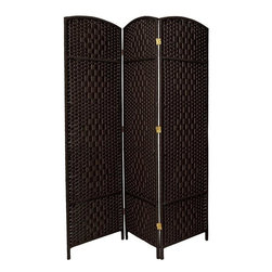 "Oriental Furniture - 6 ft. Tall Diamond Weave Fiber Room Divider - Black - 3 Panel - This Diamond weave room partition is a practical accessory and beautiful decorative accent. The arch top panels are wider than most, almost 20"". Tough, durable spun plant fiber cord is interwoven with quarter inch thick wooden dowels. The distinctive ""diamond"" shape medallions are repeated five per panel, creating a stylish rattan look decorative screen as well as a slightly larger floor screen room divider. The spun plant fiber cord is able to hold dye beautifully, making rich, warm, beautifully colored decorative screens. Note however that this design does allow some light and air to pass though the panels, and does not shut light out completely."