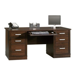 Sauder - Office Port Computer Executive Desk in Dark A - Features flip-down panel for keyboard and mouse. 2 file drawers with full extension slides hold letter, legal or European size hanging files. 4 Small drawers feature metal runners and safety stops. Large drawer and shelf with metal runners and safety stops. Durable melamine top is heat, stain and scratch resistant. Desk top has grommet holes for cord management. Patented T-lock drawer system and patented slide-on moldings. Made of engineered wood. Assembly required. 66 in. W x 30 in. D x 29 in. H