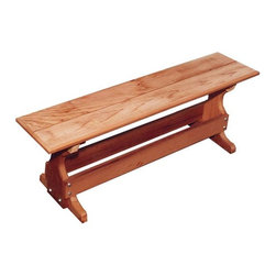 Fifthroom - Red Cedar Trestle Bench - Our attractive Trestle Bench is hand-crafted from genuine Red Cedar, for old-fashioned style and durability.  It's ideal for use with our Trestle Table, your existing picnic table, or all by itself.  It's also quite convenient to have a few of these trim, easy-to-store benches on hand for large get-togethers, indoors or outside.