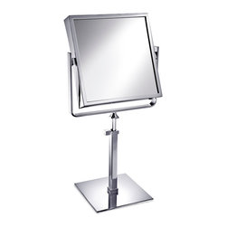 Windisch - Square Brass Pedestal Double Face 3x or 5x Magnifying Mirror - Contemporary style square free standing double face (regular and magnifying) mirror. Mirror is available in 3 finishes with choice of 3x or 5x magnifications.