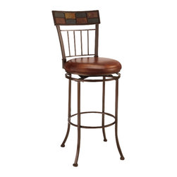 Hillsdale Furniture - Hillsdale Montero 24 Inch Counter Height Stool - Earth inspired textures and colors combine to create Hillsdale Furniture's Montero swivel stool. Boasting a striking fusion of coppery brown metal and dynamic patterned slate motif in the stool back, this stool also features a versatile brown faux leather seat and transitional design elements. The stool swivels 360 degrees and is available in both bar and counter height. Composed of heavy gauge tubular steel.