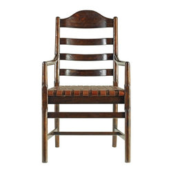 Stanley - Artisan Ladderback Arm Chair, Barrel - Welcome guests to the head of the table with our Ladderback Arm Chair. Scaled for today, but generous in the seating area, this chair delivers comfort no matter how long the meal lasts. The woven belt leather seat naturally conforms to the occupant, and will age gracefully over time.