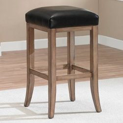 AHB Casablanca Backless Bar Stool - Complete your quest for simple yet fashionable stool seating with the AHB Casablanca Backless Bar Stool. Its backless design and bonded leather seat in java ensure comfort and easy movement. This bar stool is well-built with a solid wood frame finished in weathered oak. Smoothed edges and accenting lines provide an alluring accent.