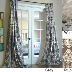 None - Amirah Intricate Damask Metallic Curtain Panel - These gray curtain panels add elegance to your home with their simple design. Made of faux silk, the textured fabric has an intricate pattern. These panels have a grommet construction for extra sturdiness, and they come in other color options.