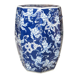 Belle & June - Blue & White Hexagonal Butterfly Garden Stool - Beautiful butterflies and floral patterns adorn this ceramic stool. Each piece is handcrafted and infuses Asian elements into your home decor.