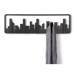"Umbra - Skyline Multi Hook - The Skyline Multi Hook is designed to look like a ""window on the wall"" to the cityscape beyond. Part wall decor and part storage solution, the Skyline Multi Hook features five (5) flip-down hooks that flip up for a seamless look when not in use. It's constructed of molded material and measures 19.5 x 6 x 1 inches. Mounting hardware is included for easy installation anywhere in the home or office."