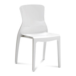 Domitalia - Crystal Stackable Dining Chair, White, White (Set of 4) - -Durable polycarbonate frame and shell