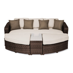 """Reef Rattan - Reef Rattan Aruba 4 Pc Day Bed Set - Chocolate Rattan / Beige Cushions - Reef Rattan Aruba 4 Pc Day Bed Set - Chocolate Rattan / Beige Cushions. This patio set is made from all-weather resin wicker and produced to fulfill your needs for high quality. The resin wicker in this patio set won't fade, shrink, lose its strength, or snap. UV resistant and water resistant, this patio set is durable and easy to maintain. A rust-free powder-coated aluminum frame provides strength to withstand years of use. Sunbrella fabrics on patio furniture lends you the sophistication of a five star hotel, right in your outdoor living space, featuring industry leading Sunbrella fabrics. Designed to reflect that ultra-chic look, and with superior resistance to the elements in a variety of climates, the series stands for comfort, class, and constancy. Recreating the poolside high end feel of an upmarket hotel for outdoor living in a residence or commercial space is easy with this patio furniture. After all, you want a set of patio furniture that's going to look great, and do so for the long-term. The canvas-like fabrics which are designed by Sunbrella utilize the latest synthetic fiber technology are engineered to resist stains and UV fading. This is patio furniture that is made to endure, along with the classic look they represent. When you're creating a comfortable and stylish outdoor room, you're looking for the best quality at a price that makes sense. Resin wicker looks like natural wicker but is made of synthetic polyethylene fiber. Resin wicker is durable & easy to maintain and resistant against the elements. UV Resistant Wicker. Welded aluminum frame is nearly in-destructible and rust free. Stain resistant sunbrella cushions are double-stitched for strength and are fully machine washable. Removable covers made with commercial grade zippers. Tables include tempered glass top. 5 year warranty on this product. PLEASE NOTE: Throw pillows are NOT included. Bench: W 85"""" D 33"""""""