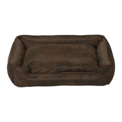 "Jax and Bones - Faux Leather Lounge Dog Bed in Cognac - Features: -Dog bed. -Luxurious faux-leather fabric. -Fabric is durable and scratch resistant. -Truly works of art. -Sustainafill allergy-free eco-friendly fiber filling. -Removable and machine washable cover. -Rugged, luxurious, and impervious to grimy or wet paws. -Great choice for the discerning dog owner. -Proudly made in the USA. -Cognac fabric. -Available in four sizes. Specifications: -Small dimensions: 7"" H x 18"" W x 24"" D. -Medium dimensions: 10"" H x 27"" W x 32"" D. -Medium / large dimensions: 10"" H x 32"" W x 39"" D. -Large dimensions: 12"" H x 40"" W x 48"" D."