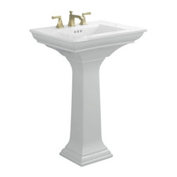 KOHLER - KOHLER K-2344-1-0 Memoirs Pedestal Lavatory with Stately Design - KOHLER K-2344-1-0 Memoirs Pedestal Lavatory with Stately Design and Single-Hole Faucet Drilling in White