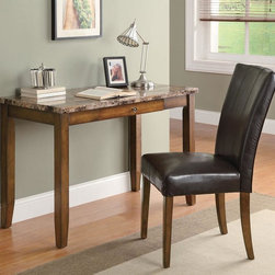 Coaster - Walnut Transitional Desk - Walnut finished desk comes with chair all in one box. Table features a faux marble top, chair is wrapped in a durable leather-like marble top, chair is wrapped in a durable leather-like vinyl.