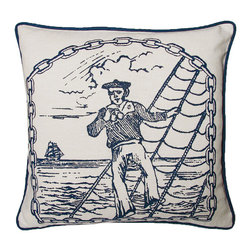 Kevin O'Brien Studio - Nautical Salty Dog Sailor Pillow, Indigo - Our brightly colored nautical prints are screen printed onto 100% linen; piped edging; zip closure; feather/down insert included; designed in Philadelphia and made in Nepal