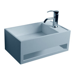 ADM - ADM Matte White Wall Hung Stone Resin Sink - This compact sink is just the thing you need for your smaller bathroom. It takes up little space and is wall mounted so you can use the area beneath it for a wastebasket or storage.