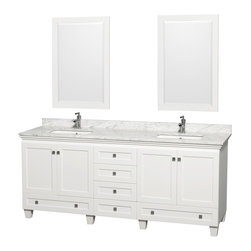"Wyndham Collection - Wyndham Collection 80"" Acclaim White Double Vanity w/ White Porcelain Sink - Sublimely linking traditional and modern design aesthetics, and part of the exclusive Wyndham Collection Designer Series by Christopher Grubb, the Acclaim Vanity is at home in almost every bathroom decor. This solid oak vanity blends the simple lines of traditional design with modern elements like square undermount sinks and brushed chrome hardware, resulting in a timeless piece of bathroom furniture. The Acclaim comes with a White Carrera or Ivory marble counter, porcelain, marble or granite sinks, and matching mirrors. Featuring soft close door hinges and drawer glides, you'll never hear a noisy door again! Meticulously finished with brushed chrome hardware, the attention to detail on this beautiful vanity is second to none and is sure to be envy of your friends and neighbors!"