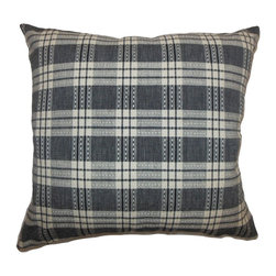 The Pillow Collection - Macaulay Black Plaid Pillow - This classic plaid throw pillow will definitely add pizzazz to your space. This accent pillow features a plaid print pattern in black, white and grey color combination. This gives the decor pillow a contemporary vibe perfect for formal and casual settings. Mix and match this with plain pillows to add an interesting contrast. The fabric used in making this square pillow is made from 100% soft cotton fabric. Hidden zipper closure for easy cover removal.  Knife edge finish on all four sides.  Reversible pillow with the same fabric on the back side.  Spot cleaning suggested.