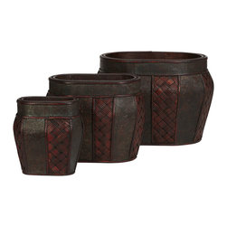 Nearly Natural - Nearly Natural Oval Decorative Planter (Set of 3) - For those with different sized arrangements, we have our three set oval vase collection. Whether enhancing different sized blossoming arrangements or just to be admired on their own, this collection is sure to add touch of tropical class inside or out. Each vase comes with a repeating pattern of cross thatching next to a pressed floral design. And this intricacy is set against a darken background, and framed by thin segmented trim.