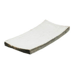 Zentique - Decorative Dish, Large - Rectangular dish featuring curved ends made of granular clay with a distressed ceramic finish. For decorative purposes only.