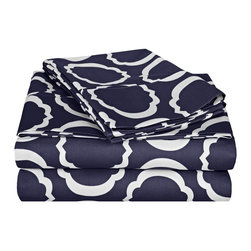 600 Thread Count Cal - King Sheet Set Cotton Rich Scroll Park - Navy Blue/White - Brighten up your home with this sheet set from the Scroll Park Collection. Featuring a modern redesign of an ancient symbol, an emblem of positive energy, this sheet set will make you feel like you're surrounded by pure positivity. Set includes One Flat Sheet 108x102, One Fitted Sheet 72x84 and Two Pillowcases 20x40 each.