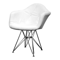 Baxton Studio - Baxton Studio Lia White Tufted Faux Leather Eiffel Arm Chair - This arm chair is a modern study of the traditional button-tufted club chair. Each chair features a lightly padded and fully-upholstered seat in white leather-matched vinyl. The soft panels of material are sewn together and accented at the corners with matching buttons to mimic traditional, classic furnishings. Underneath, the chair's base is robust steel with high-shine chrome finish. Black plastic feet are included for stabilization. This design is also available as a side chair. Assembly is required.
