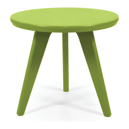 Loll Designs - Satellite End Round 18 Table, Leaf Green - In the context of outdoor lounging, a Loll Satellite accent table is a recycled polyethylene object placed into orbit around humans resting in Loll Furniture. Unlike the moon, the Loll Satellite Table actually rotates in conjunction with the Earth and her inhabitants, at just over 1,000 miles per hour, but appears to be sitting still. We think it's time for you to have your very own Satellite... perfect for star gazing on black nights with warm breezes and cold drinks. All Loll Satellite Tables are made with heavy duty 1 inch thick poly and available in an assortment of colors, shapes and sizes.