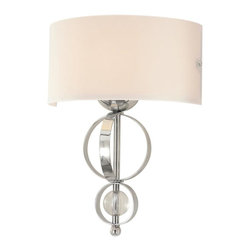 Golden Lighting - Cerchi 1-Light Wall Sconce in Chrome - Bulb not included. Required one 100 watt incandescent type A medium base bulb. Drum shaped opal satin shade. Metal frame. Clear acrylic accents. Column rings can be adjusted flat for different look. One E27 socket. UL listed for dry location. Electric wire gage: W/B-18AWG 150 degree. Wire length: 8 in.. Glass: 12 in. W x 6 in. H. Canopy: 11.5 in. W x 5.12 in. H. Overall: 12 in. W x 16.5 in. H (4.19 lbs.). Warranty. Assembly Instructions
